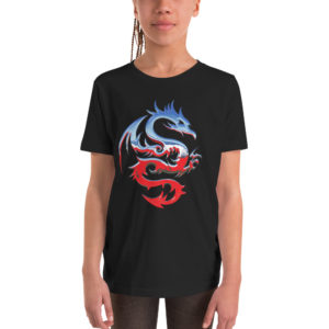 T-Shirt Dragon bleu et rouge